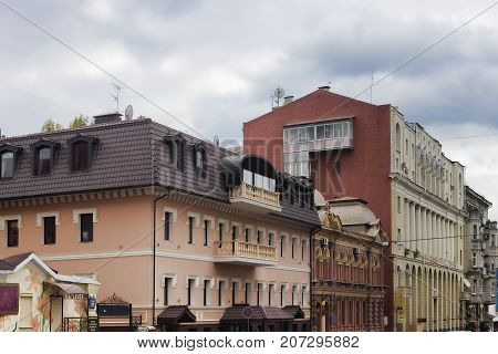 Old Buildings On The Streets Of Rimarsky In Kharkiv Have Been Renovated With Modern Materials