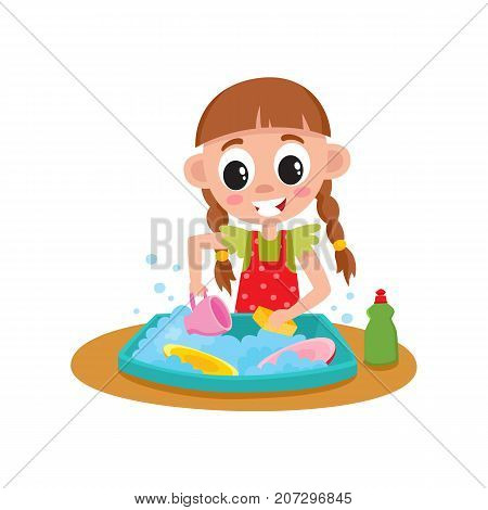 Little girl washing dishes in water sink, daily routine, home chore, cartoon vector illustration isolated on white background. Cartoon little girl washing dishes, helping with house chore