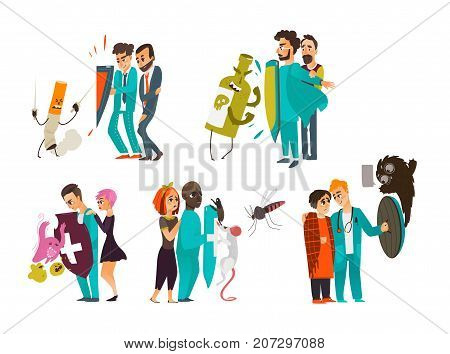 Set of doctors who fight illnesses, diseases, hold a shield to protect patients, flat cartoon vector illustration isolated on white background. Doctor fight, physical and psychiatric protection