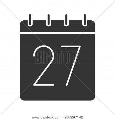 Twenty seventh day of month glyph icon. Date silhouette symbol. Wall calendar with 27 sign. Negative space. Vector isolated illustration