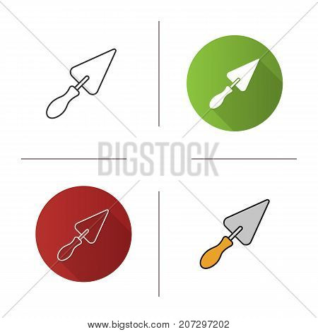 Triangular shovel icon. Flat design, linear and color styles. Isolated vector illustrations