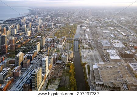 panoramic view of the Chicago south side
