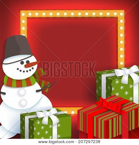 Christmas greeting card template with paper cut snowman, present boxes, light frame and place for text, vector illustration. Christmas, Xmas greeting card template with paper cut presents and snowman