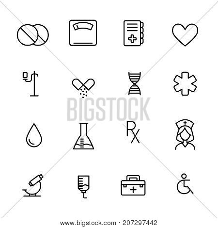 Simple collection of pharmacy related line icons. Thin line vector set of signs for infographic, logo, app development and website design. Premium symbols isolated on a white background.