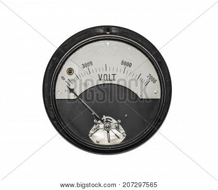 Old sensor voltmeter isolated on white background.