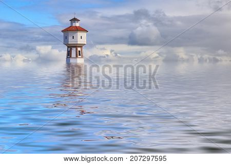 Simulated photo of lighthouse at the island of Langeoog illustrating flooding due to global warming
