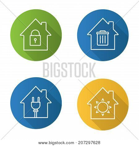 Houses flat linear long shadow icons set. Home buildings with lock, sun, trashcan and wire plug inside. Vector outline illustration