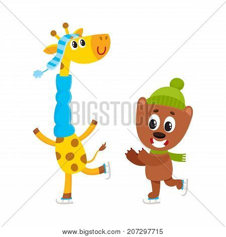 Cute little giraffe and bear characters ice skating together, winter activity, cartoon vector illustration isolated on white background. Little baby giraffe and beat animal character ice skating