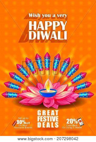 Colorfu Firecracker on Happy Diwali night celebrating holiday of India festive deal promotion background. Vector illustration