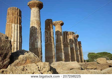 Temple of Juno at Valley of Temples in Agrigento. Sicily