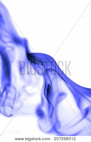 blue smoke on white background . Photo of abstract background