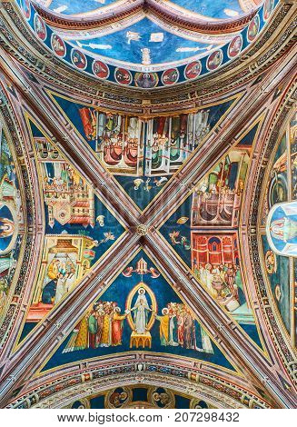 Galatina Italy - August 15, 2017. Ceiling frescoes of the nave of Basilica Santa Caterina of Alessandria. Galatina, Puglia, Italy.