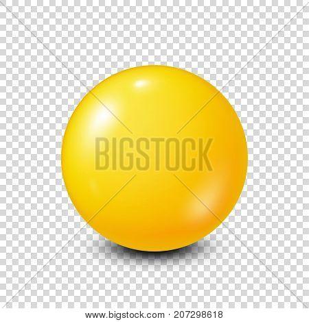 Yellow lottery, billiard, pool ball. Snooker. Transparent background. Vector illustration.