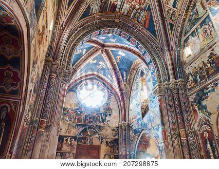 Galatina, Italy - August, 15. 2017. Frescoes in the nave of Basilica Santa Caterina of Alessandria. Galatina, Puglia, Italy.