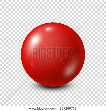 Red lottery, billiard, pool ball. Snooker. Transparent background. Vector illustration.