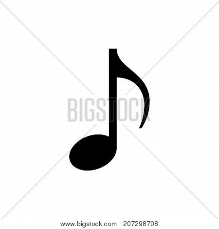 Music note icon. Black minimalist icon isolated on white background. Eighth note simple silhouette. Web site page and mobile app design vector element.