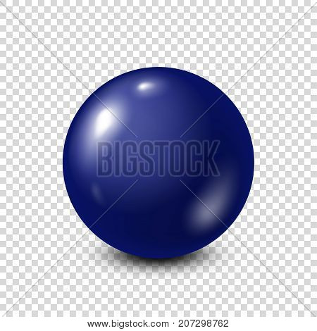 Dark blue lottery, billiard, pool ball. Snooker. Transparent background. Vector illustration.