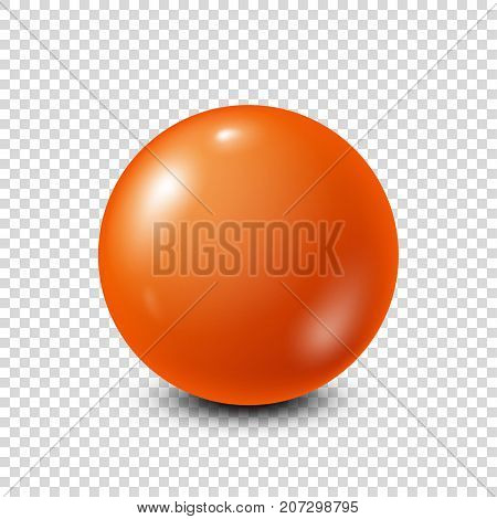 Orange lottery, billiard, pool ball. Snooker. Transparent background. Vector illustration.