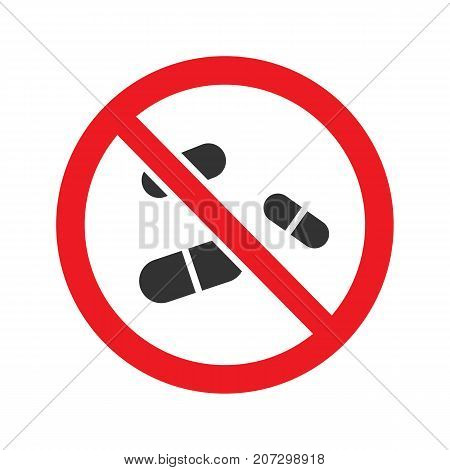 Forbidden sign with pills glyph icon. Stop silhouette symbol. No drugs prohibition. Negative space. Vector isolated illustration
