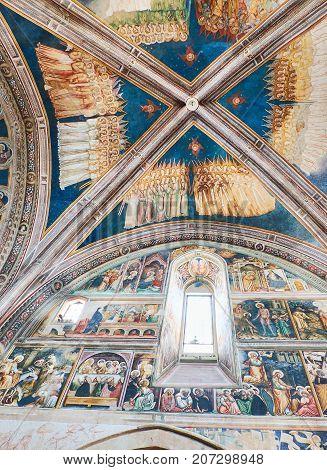 Galatina, Italy - August 15, 2017. Ceiling frescoes of the nave of Basilica di Santa Caterina of Alessandria. Galatina, Puglia, Italy.