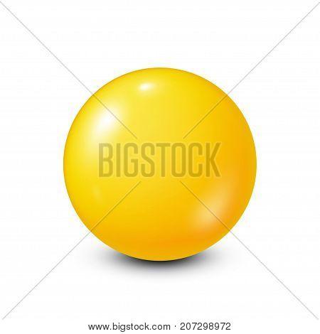 Yellow lottery, billiard, pool ball. Snooker. White background. Vector illustration.