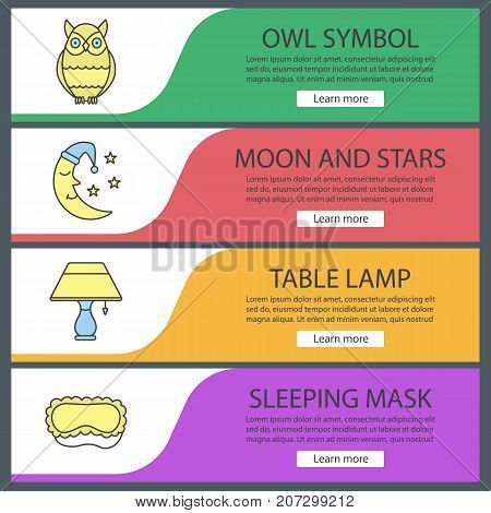 Sleeping accessories web banner templates set. Owl, moon and stars, table lamp, sleeping mask. Website color menu items. Vector headers design concepts