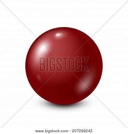 Dark red lottery, billiard, pool ball. Snooker. White background. Vector illustration.