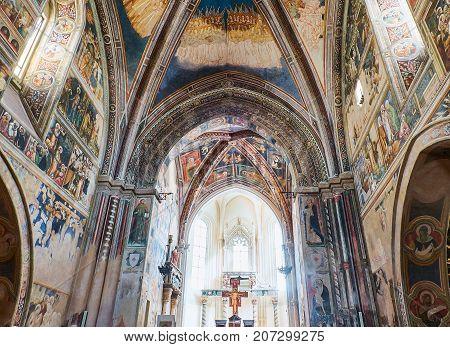 Galatina, Italy - August 15, 2017. Chancel frescoes of the Basilica  Santa Caterina of Alessandria. Galatina, Puglia, Italy.