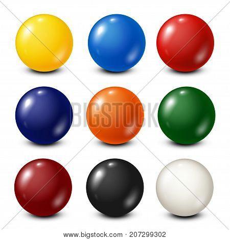 Billiard, pool balls collection. Snooker. White background. Vector illustration.