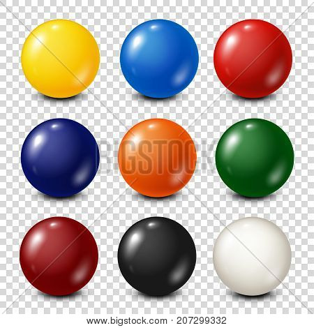 Lottery, billiard, pool balls collection. Snooker. Transparent background. Vector illustration.