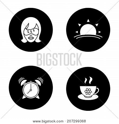 Morning glyph icons set. Sleeping woman, sunrise, alarm clock, herbal teacup. Vector white silhouettes illustrations in black circles