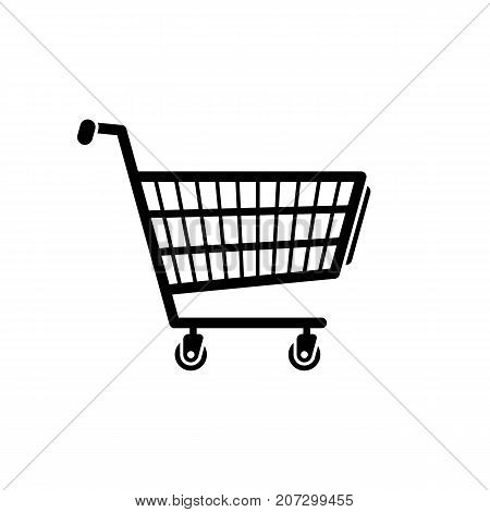 Shopping cart icon. Black minimalist icon isolated on white background. Shopping cart simple silhouette. Web site page and mobile app design vector element.