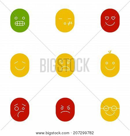 Smiles glyph color icon set. Silhouette symbols on white backgrounds. Funny, grinning, grimacing, sleepy, kissing, scared, dizzy, upset, neutral, sad smileys. Negative space. Vector illustrations poster
