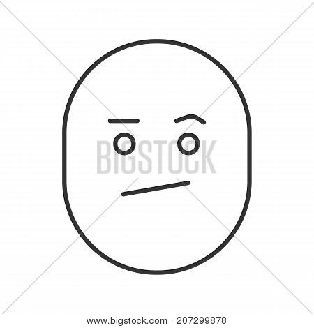 Bored smile linear icon. Thin line illustration. Confused face. Contour symbol. Vector isolated outline drawing