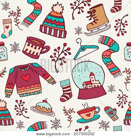 Cute Christmas Holiday Doodle Seamless Pattern