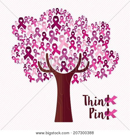 Breast Cancer Awareness Month Pink Ribbon Tree Art