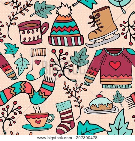 Cute Christmas Winter Doodle Seamless Pattern