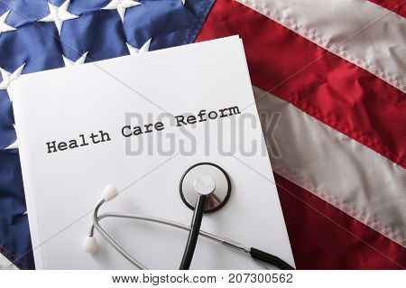 a concept of a health care reform with USA flag.