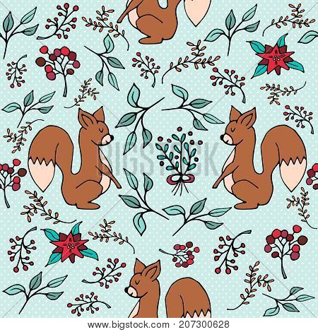 Christmas Winter Forest Squirrel Seamless Pattern