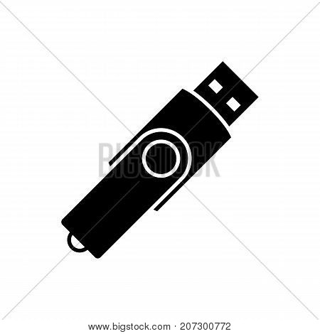 USB flash drive icon. Black minimalist icon isolated on white background. USB flash drive simple silhouette. Web site page and mobile app design vector element.