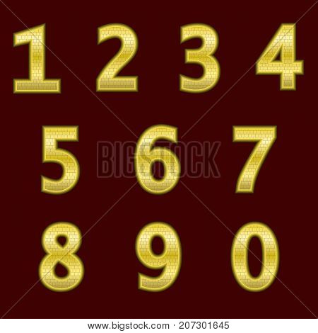 A complete set of gold 3D numbers with a grid relief. The edges of the numbers are not rounded. Font is isolated by a dark red background. Vector illustration.