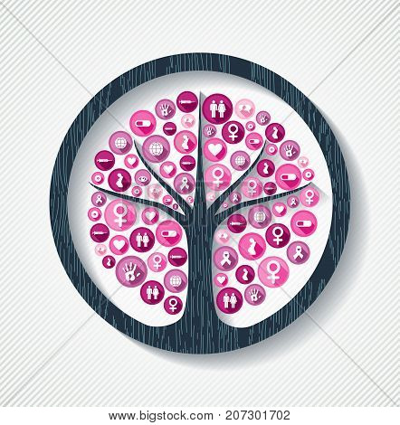 Breast cancer awareness month concept illustration for help and support. Tree design with pink women health care icons. EPS10 vector.