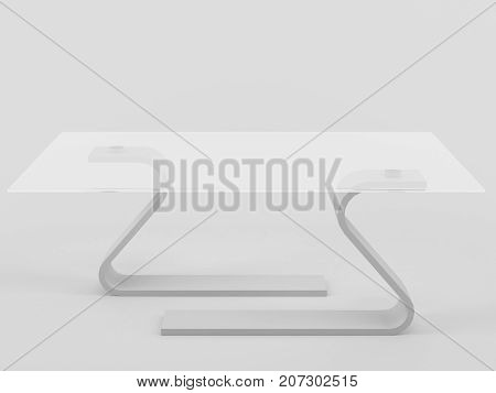 modern table with tempered glass 3d illustration