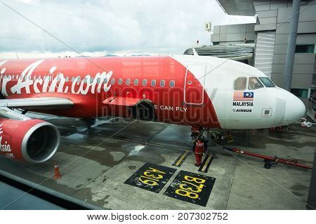 Kota Kinabalu, Malaysia - September 06, 2017: Airasia Airplane At Kota Kinabalu International Airpor