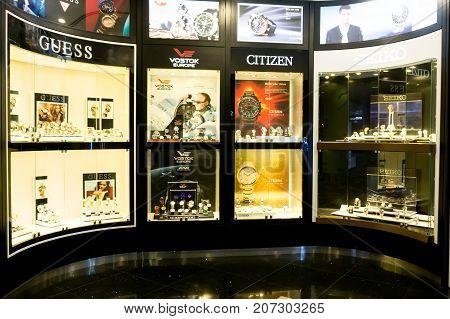 Kuala Lumpur Malaysia - September 06 2017: Varied brand of watches at Kuala Lumpur International Airport.