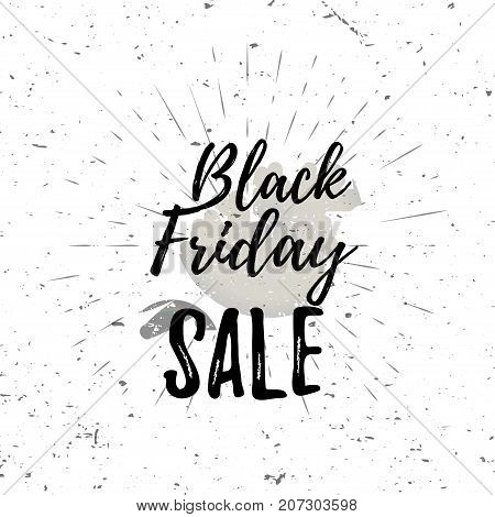 Black Friday sale lettering typography with burst on a old textured background. Vector illustration for cards, banners, print, web