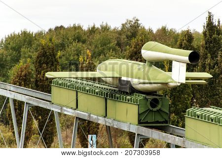 PEENEMUENDE GERMANY - September 21 2017: Territory of the Army Research Center. WW-II developed V-1 and V-2 rockets. View of the V-1 missile. Flying Bomb