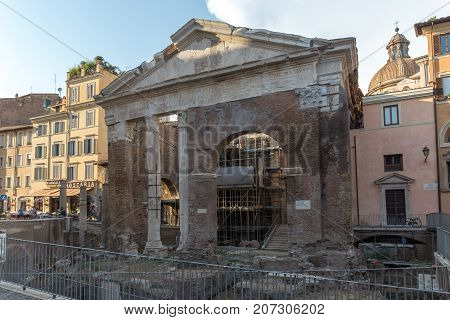 ROME, ITALY - JUNE 22, 2017: Ruins of Portico of Octavia in city of Rome, Italy