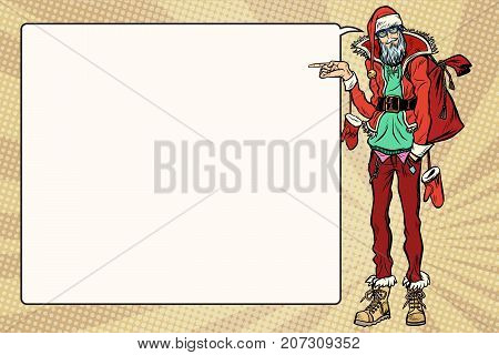 Hipster Santa Claus specifies sideways, the comic book bubble. Christmas holiday and New year. Pop art retro vector illustration
