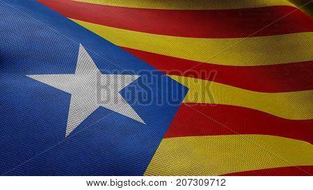 Estelada waving flag background. Symbol of the Catalonia independence movement. 3D illustration.